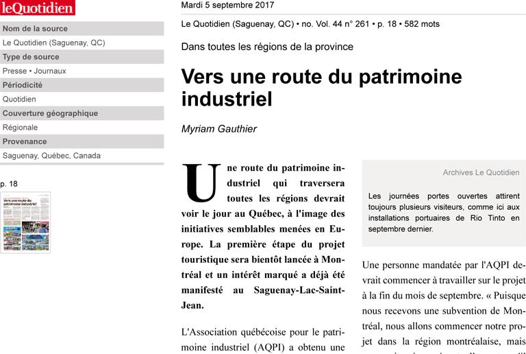 Vers une route du patrimoine industriel