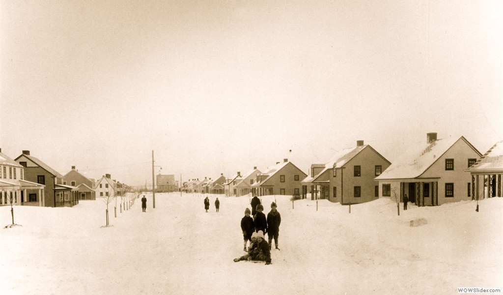 Arvida, winter scenery on Moissan Street, 1927