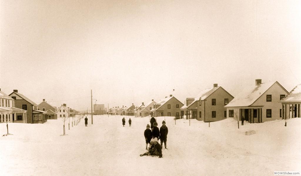 Arvida, winter scenery on Moissan Street, 1927