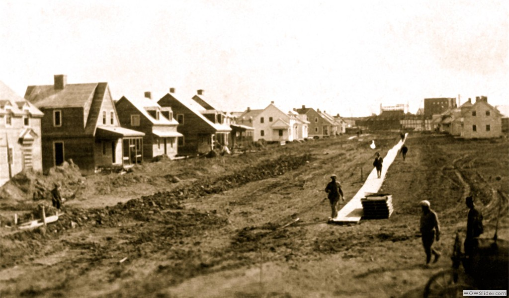 Arvida, construction de la rue Oersted, 1926