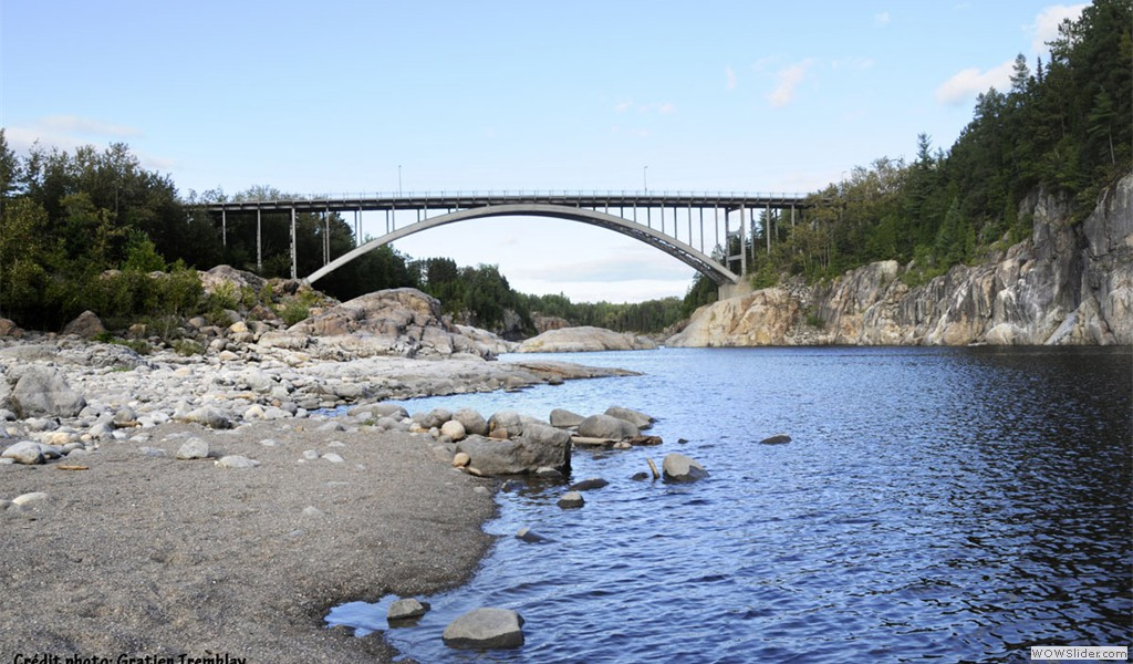 Arvida Aluminum Bridge, built in 1949-50. Formally recognized in 2008 as one of Canada's Historic Place by the Canadian Society for Civil Engineering (CSCE).